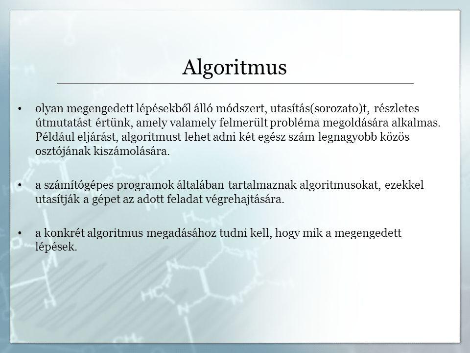 Programozási tételek, nevezetes algoritmusok Összegzés tétele - adott egy N elemű számsorozat, határozzuk meg a sorozat összegét.