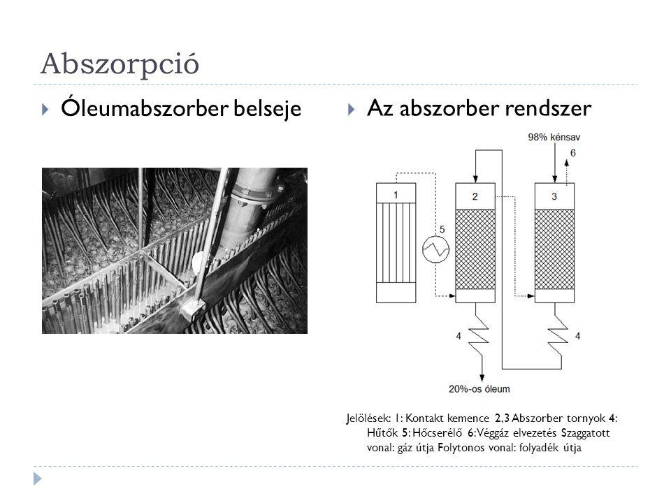 Abszorpció  Óleumabszorber belseje  Az abszorber rendszer Jelölések: 1: Kontakt kemence 2,3 Abszorber tornyok 4: Hűtők 5: Hőcserélő 6: Véggáz elvezetés Szaggatott vonal: gáz útja Folytonos vonal: folyadék útja