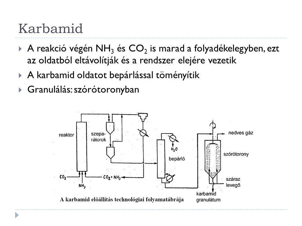 Karbamid  A reakció végén NH 3 és CO 2 is marad a folyadékelegyben, ezt az oldatból eltávolítják és a rendszer elejére vezetik  A karbamid oldatot bepárlással töményítik  Granulálás: szórótoronyban