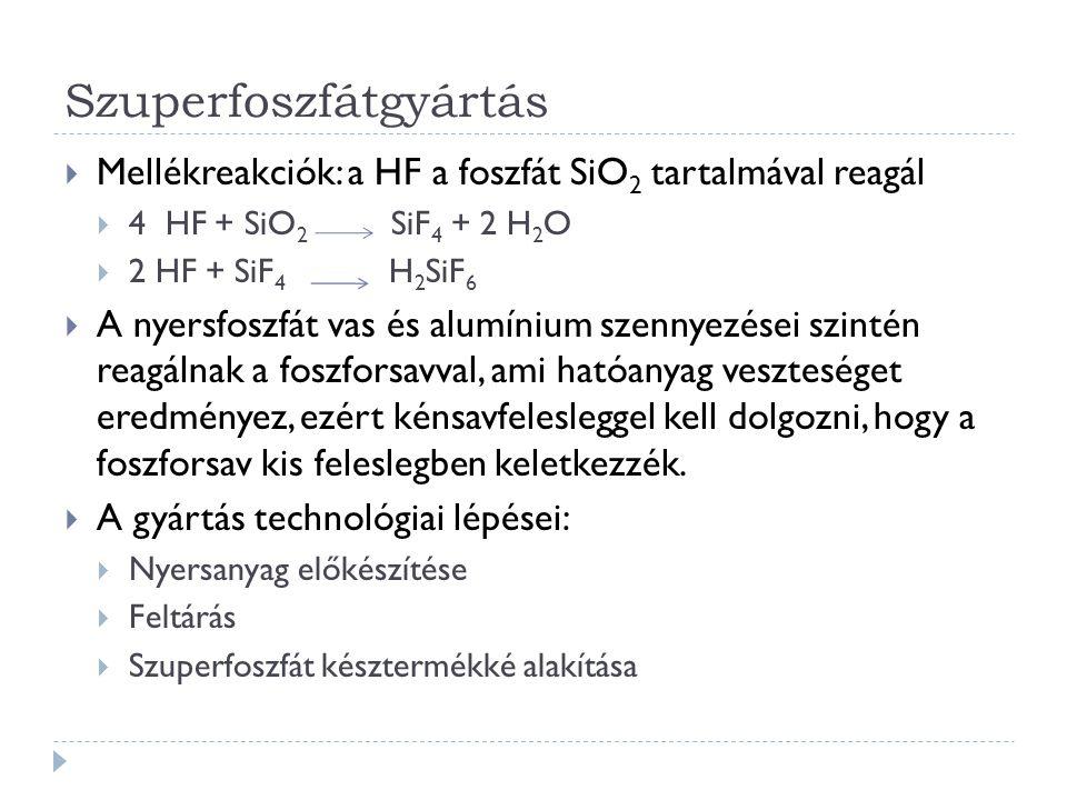 Szuperfoszfátgyártás  Mellékreakciók: a HF a foszfát SiO 2 tartalmával reagál  4 HF + SiO 2 SiF 4 + 2 H 2 O  2 HF + SiF 4 H 2 SiF 6  A nyersfoszfát vas és alumínium szennyezései szintén reagálnak a foszforsavval, ami hatóanyag veszteséget eredményez, ezért kénsavfelesleggel kell dolgozni, hogy a foszforsav kis feleslegben keletkezzék.