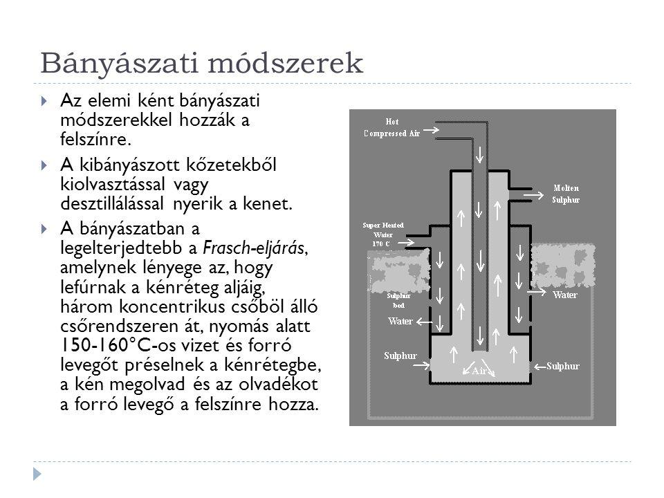 Bányászati módszerek  Az elemi ként bányászati módszerekkel hozzák a felszínre.