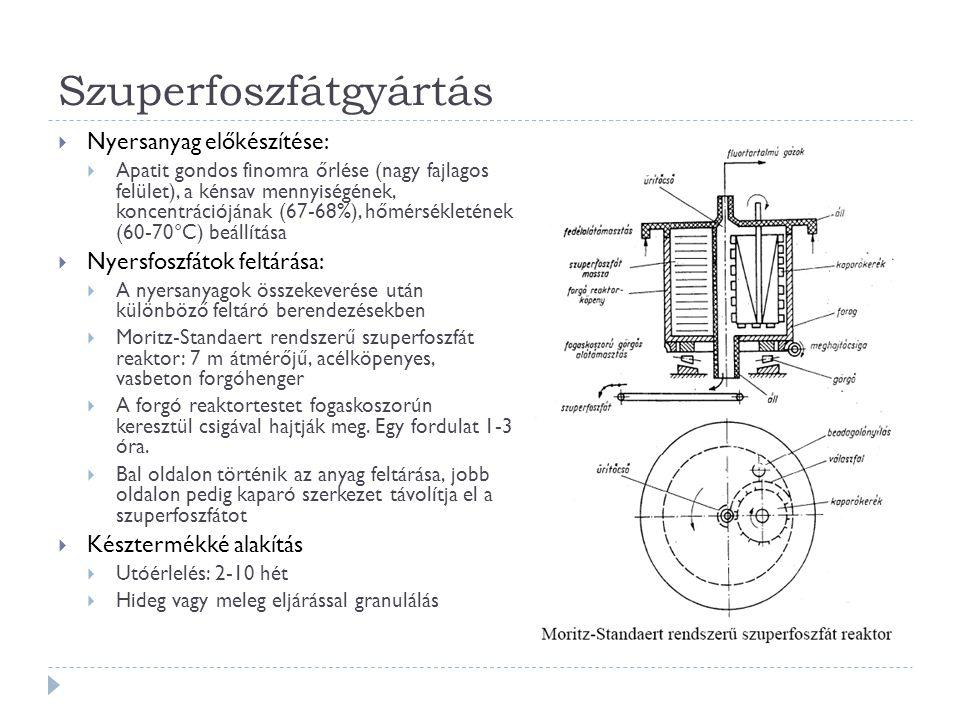 Szuperfoszfátgyártás  Nyersanyag előkészítése:  Apatit gondos finomra őrlése (nagy fajlagos felület), a kénsav mennyiségének, koncentrációjának (67-68%), hőmérsékletének (60-70°C) beállítása  Nyersfoszfátok feltárása:  A nyersanyagok összekeverése után különböző feltáró berendezésekben  Moritz-Standaert rendszerű szuperfoszfát reaktor: 7 m átmérőjű, acélköpenyes, vasbeton forgóhenger  A forgó reaktortestet fogaskoszorún keresztül csigával hajtják meg.