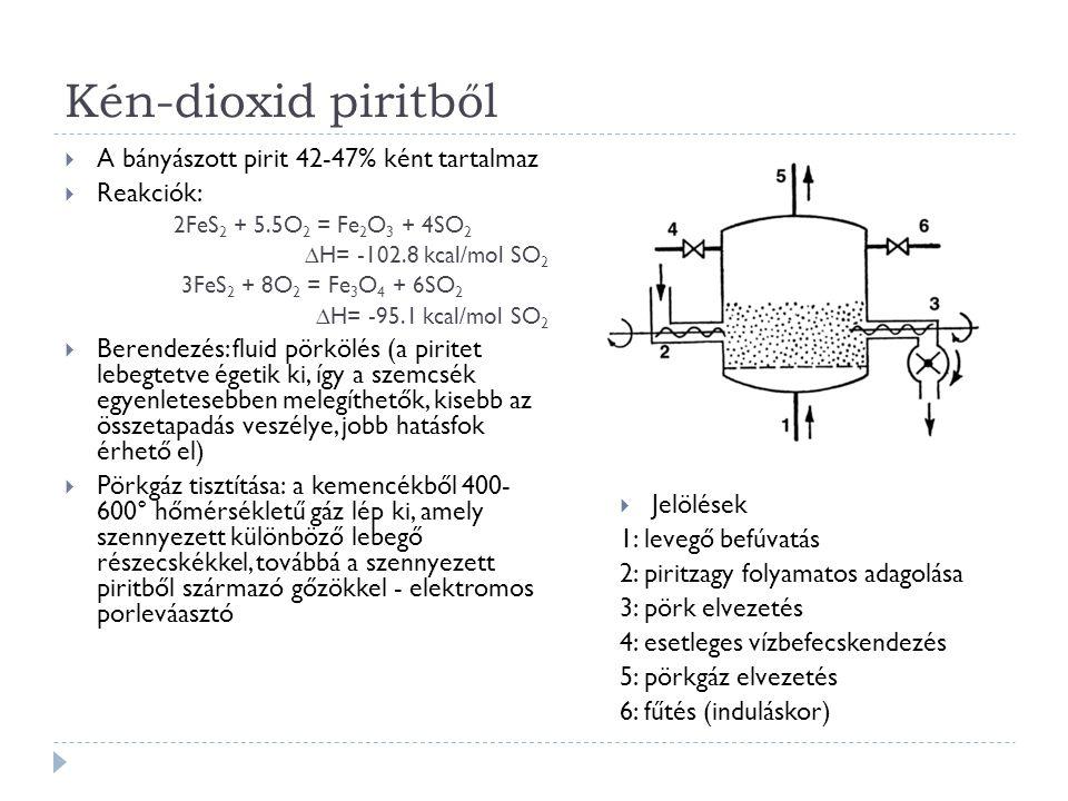 Kén-dioxid piritből  A bányászott pirit 42-47% ként tartalmaz  Reakciók: 2FeS 2 + 5.5O 2 = Fe 2 O 3 + 4SO 2 ∆H= -102.8 kcal/mol SO 2 3FeS 2 + 8O 2 = Fe 3 O 4 + 6SO 2 ∆H= -95.1 kcal/mol SO 2  Berendezés: fluid pörkölés (a piritet lebegtetve égetik ki, így a szemcsék egyenletesebben melegíthetők, kisebb az összetapadás veszélye, jobb hatásfok érhető el)  Pörkgáz tisztítása: a kemencékből 400- 600° hőmérsékletű gáz lép ki, amely szennyezett különböző lebegő részecskékkel, továbbá a szennyezett piritből származó gőzökkel - elektromos porleváasztó  Jelölések 1: levegő befúvatás 2: piritzagy folyamatos adagolása 3: pörk elvezetés 4: esetleges vízbefecskendezés 5: pörkgáz elvezetés 6: fűtés (induláskor)