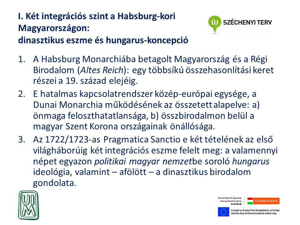 I. Két integrációs szint a Habsburg-kori Magyarországon: dinasztikus eszme és hungarus-koncepció 1.A Habsburg Monarchiába betagolt Magyarország és a R