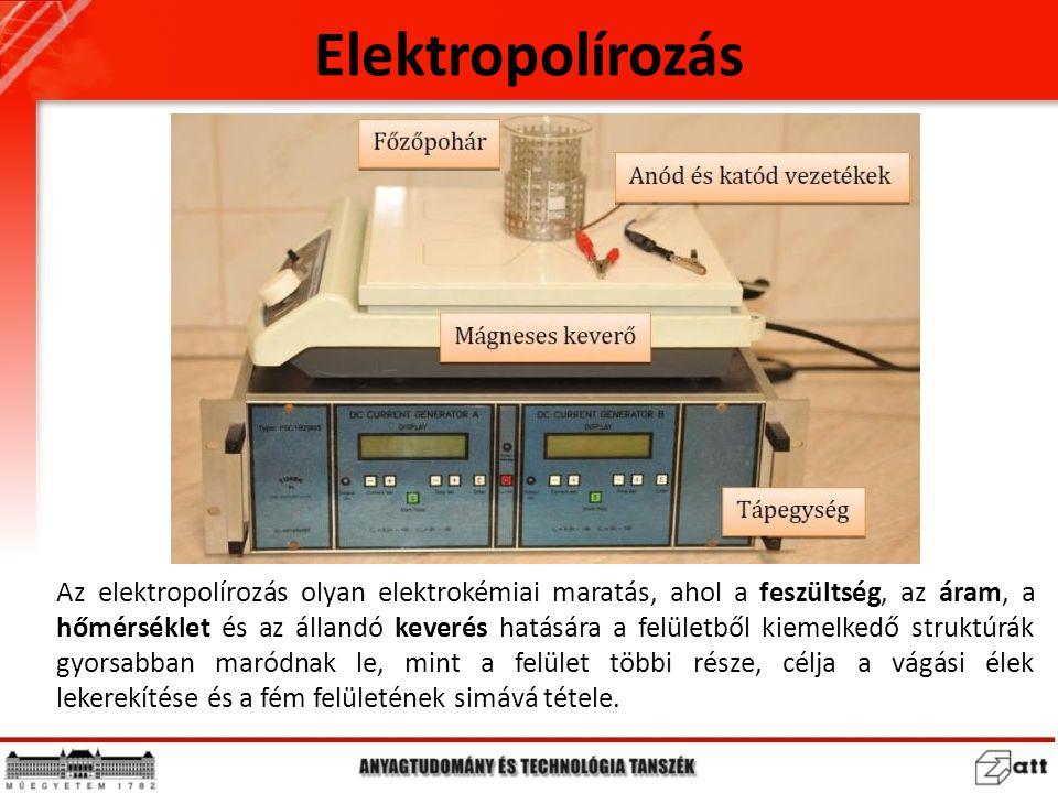 Az elektropolírozás olyan elektrokémiai maratás, ahol a feszültség, az áram, a hőmérséklet és az állandó keverés hatására a felületből kiemelkedő stru