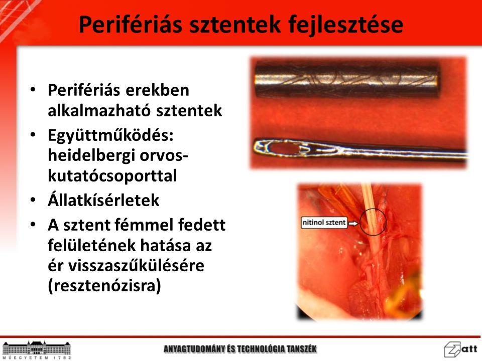 Perifériás sztentek fejlesztése Perifériás erekben alkalmazható sztentek Együttműködés: heidelbergi orvos- kutatócsoporttal Állatkísérletek A sztent f