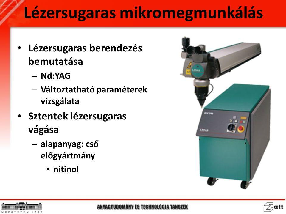 Lézersugaras mikromegmunkálás Lézersugaras berendezés bemutatása – Nd:YAG – Változtatható paraméterek vizsgálata Sztentek lézersugaras vágása – alapan