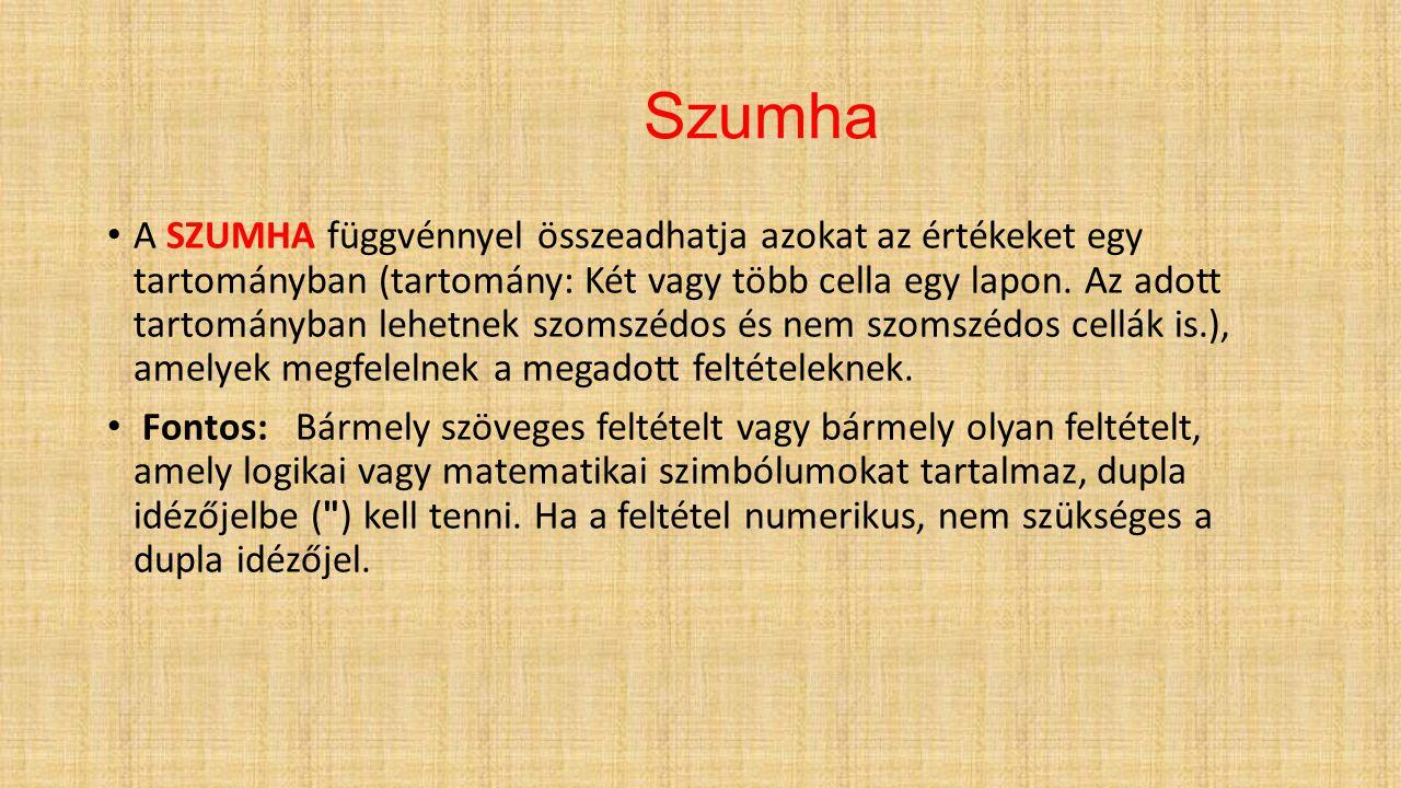 Szumha A SZUMHA függvénnyel összeadhatja azokat az értékeket egy tartományban (tartomány: Két vagy több cella egy lapon. Az adott tartományban lehetne
