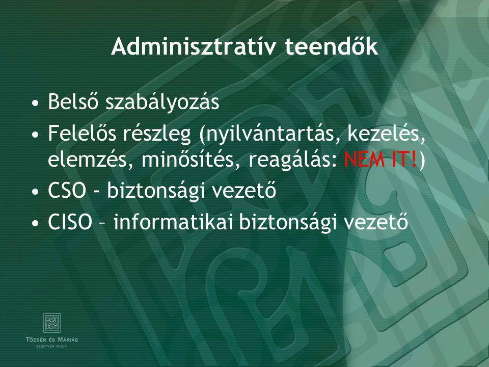 Adminisztratív teendők Belső szabályozás Felelős részleg (nyilvántartás, kezelés, elemzés, minősítés, reagálás: NEM IT!) CSO - biztonsági vezető CISO – informatikai biztonsági vezető