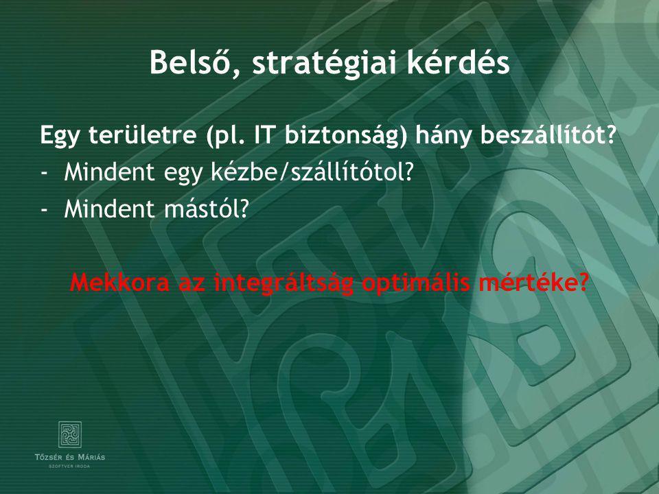 Belső, stratégiai kérdés Egy területre (pl. IT biztonság) hány beszállítót.