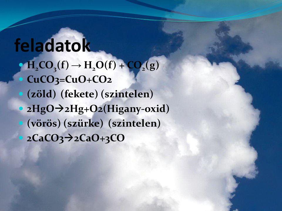 feladatok H 2 CO 3 (f) → H 2 O(f) + CO 2 (g) CuCO3=CuO+CO2 (zöld) (fekete) (szintelen) 2HgO  2Hg+O2(Higany-oxid) (vörös) (szürke) (szintelen) 2CaCO3