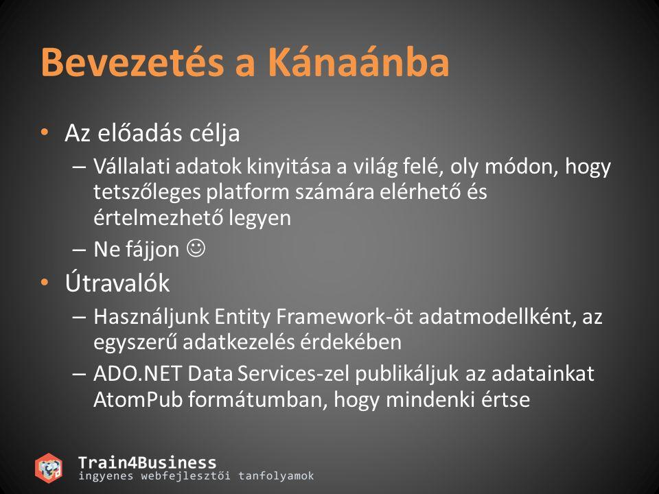 Gyakori szolgátatás-központú szituációk HTML + JavaScript Data (XML, stb) DLL + XAML Data (XML, stb) Mashup UI Data Feed AJAX alkalmazások Silverlight alkalmazások Online Szolgáltatások Mashup-ok