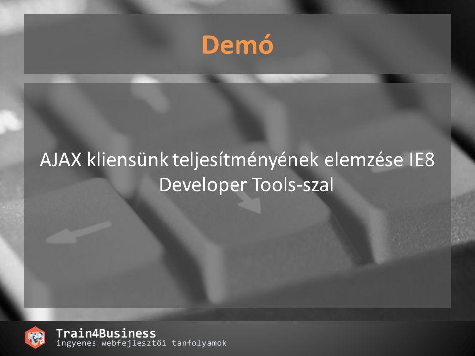 Demó AJAX kliensünk teljesítményének elemzése IE8 Developer Tools-szal