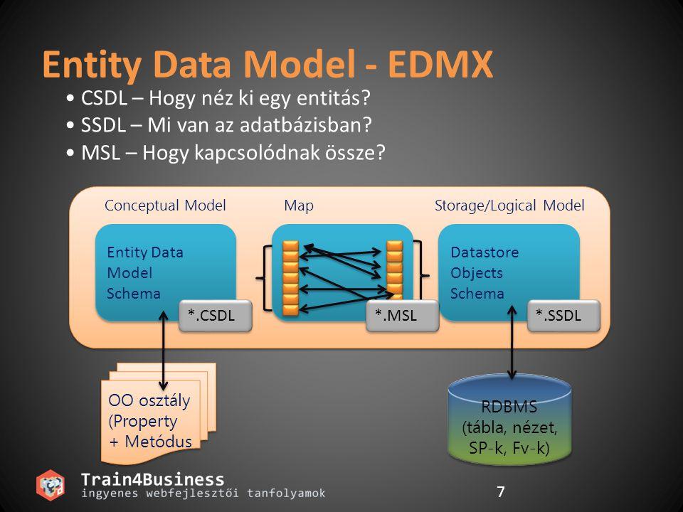 7 Entity Data Model - EDMX CSDL – Hogy néz ki egy entitás? SSDL – Mi van az adatbázisban? MSL – Hogy kapcsolódnak össze? RDBMS (tábla, nézet, SP-k, Fv