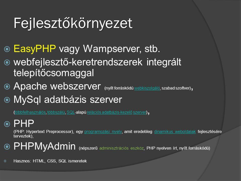 Fejlesztőkörnyezet  EasyPHP vagy Wampserver, stb.  webfejlesztő-keretrendszerek integrált telepítőcsomaggal  Apache webszerver (nyílt forráskódú we