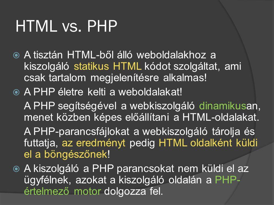 HTML vs. PHP  A tisztán HTML-ből álló weboldalakhoz a kiszolgáló statikus HTML kódot szolgáltat, ami csak tartalom megjelenítésre alkalmas!  A PHP é