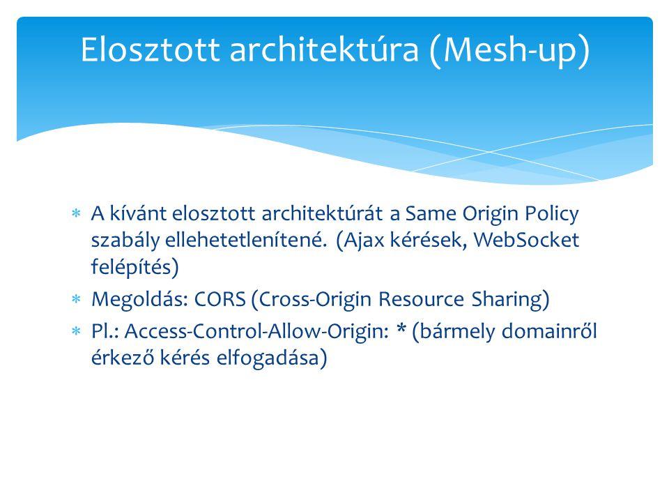  A kívánt elosztott architektúrát a Same Origin Policy szabály ellehetetlenítené. (Ajax kérések, WebSocket felépítés)  Megoldás: CORS (Cross-Origin