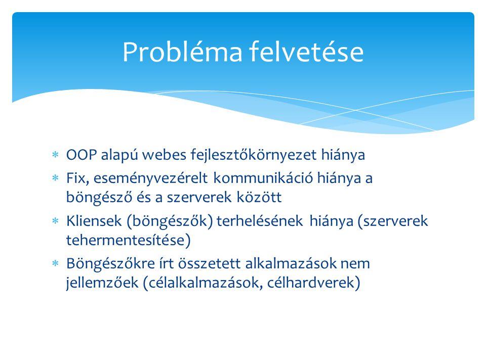  OOP alapú webes fejlesztőkörnyezet hiánya  Fix, eseményvezérelt kommunikáció hiánya a böngésző és a szerverek között  Kliensek (böngészők) terhelé