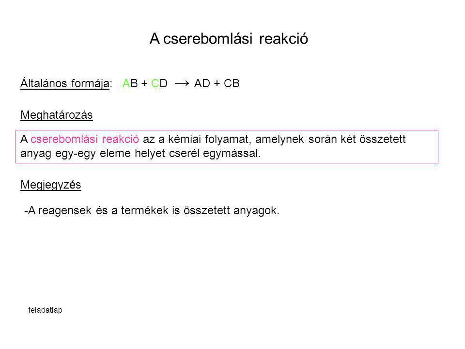 A cserebomlási reakció Általános formája: AB + CD → AD + CB A cserebomlási reakció az a kémiai folyamat, amelynek során két összetett anyag egy-egy el