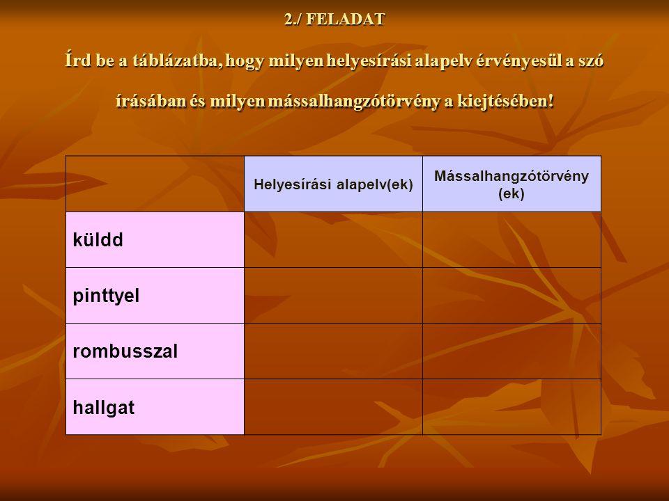 2./ FELADAT Írd be a táblázatba, hogy milyen helyesírási alapelv érvényesül a szó írásában és milyen mássalhangzótörvény a kiejtésében! Helyesírási al