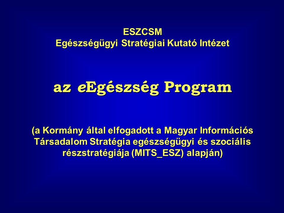 ESZCSM Egészségügyi Stratégiai Kutató Intézet az e Egészség Program (a Kormány által elfogadott a Magyar Információs Társadalom Stratégia egészségügyi