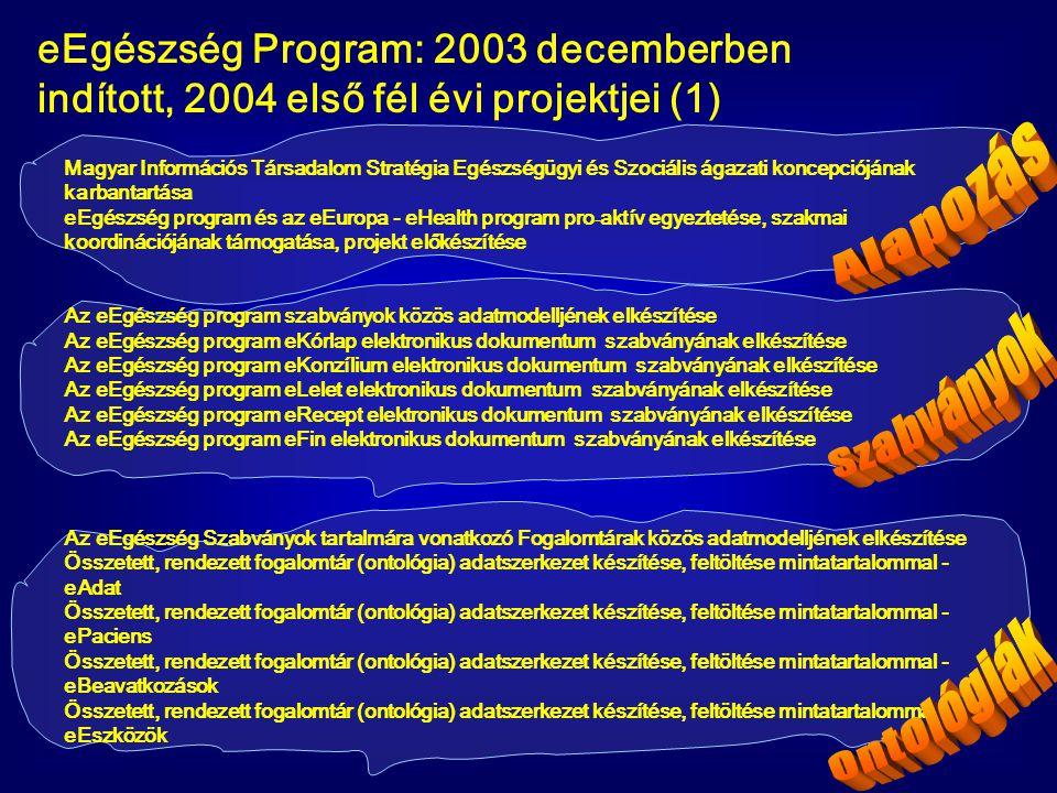 eEgészség Program: 2003 decemberben indított, 2004 első fél évi projektjei (1) Magyar Információs Társadalom Stratégia Egészségügyi és Szociális ágaza