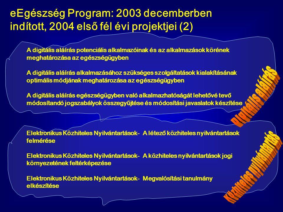 eEgészség Program: 2003 decemberben indított, 2004 első fél évi projektjei (2) A digitális aláírás potenciális alkalmazóinak és az alkalmazások köréne