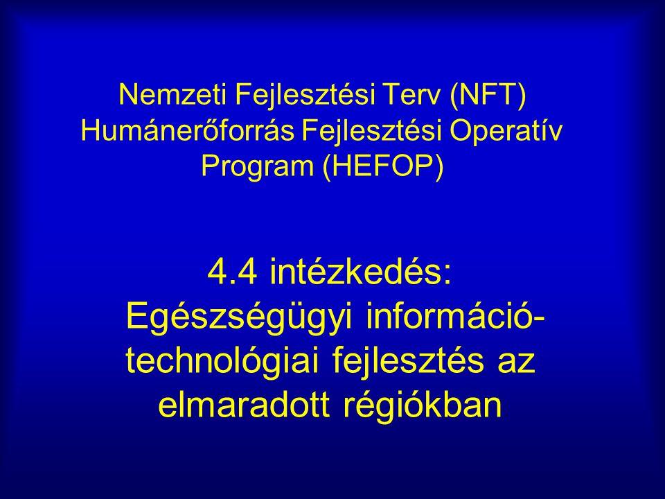 Nemzeti Fejlesztési Terv (NFT) Humánerőforrás Fejlesztési Operatív Program (HEFOP) 4.4 intézkedés: Egészségügyi információ- technológiai fejlesztés az