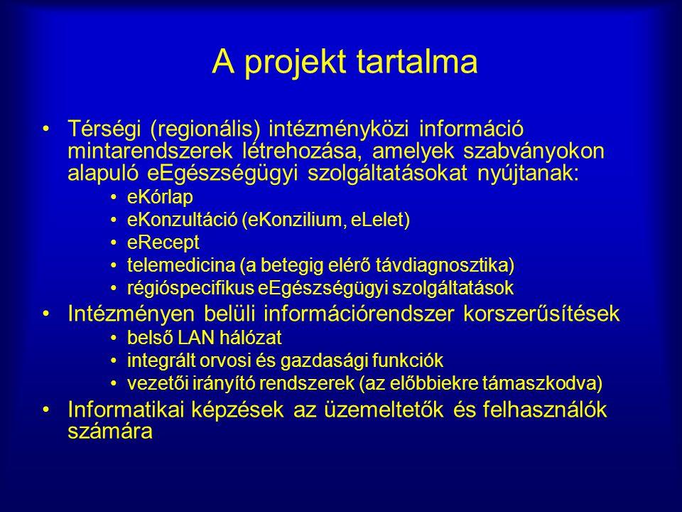 A projekt tartalma Térségi (regionális) intézményközi információ mintarendszerek létrehozása, amelyek szabványokon alapuló eEgészségügyi szolgáltatáso