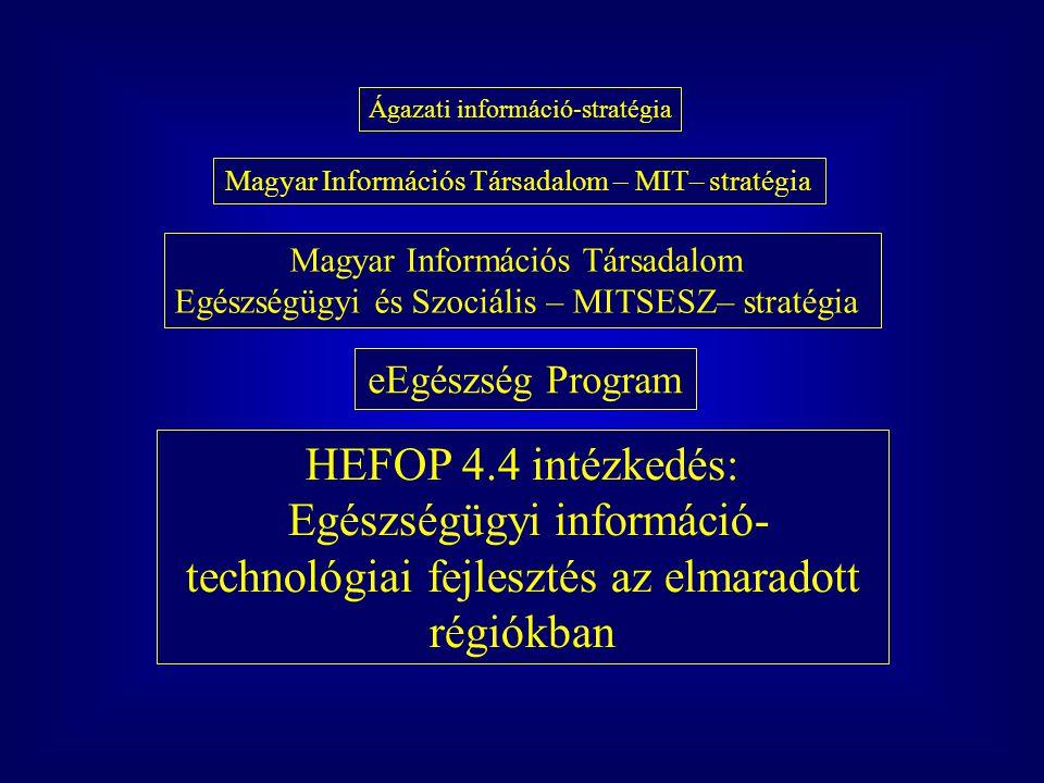 Az eEgészség Program végrehajtásának eszközei források ágazati fejlesztési keret 2003 (~ 260 mFt), 2004 (~ 550 mFt) EU Strukturális Alapok (2004: ~ 1000 mFt) bevont források (önrész) szervezeti háttér: eEgészség Programiroda módszertan: program ciklus menedzsment (PCM) koordinált, szervezett program struktúra -> projekt csomagok központi módszertanok (menedzsment, fejlesztés, szakmai tartalom) szakmai kapcsolatok pro-aktív kezelése megvalósulás nyomon követése, értékelése,