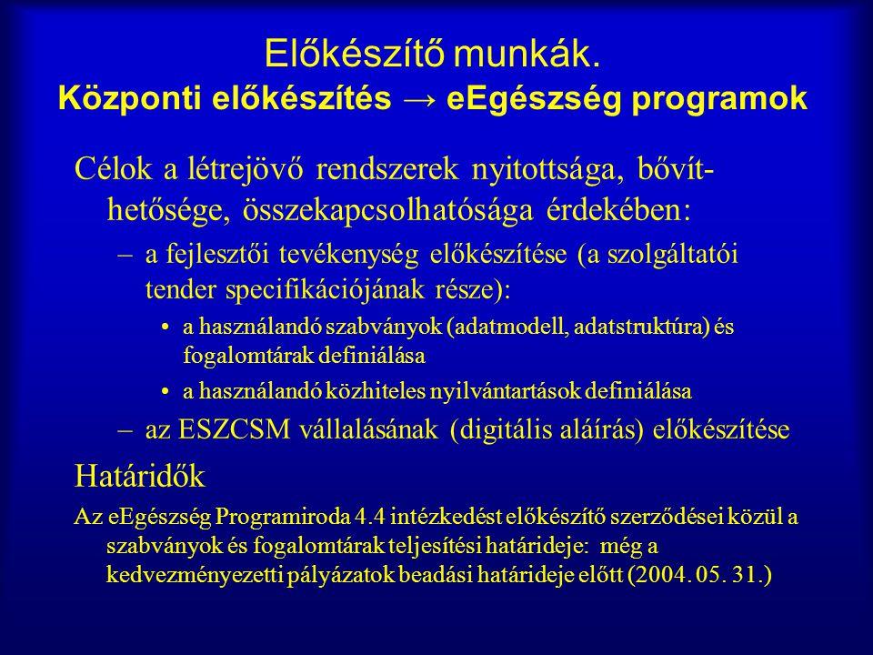 Előkészítő munkák. Központi előkészítés → eEgészség programok Célok a létrejövő rendszerek nyitottsága, bővít- hetősége, összekapcsolhatósága érdekébe