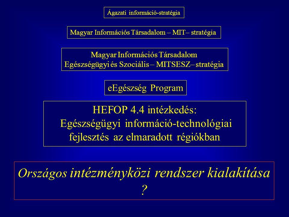 Ágazati információ-stratégia Magyar Információs Társadalom – MIT– stratégia Magyar Információs Társadalom Egészségügyi és Szociális – MITSESZ– stratég
