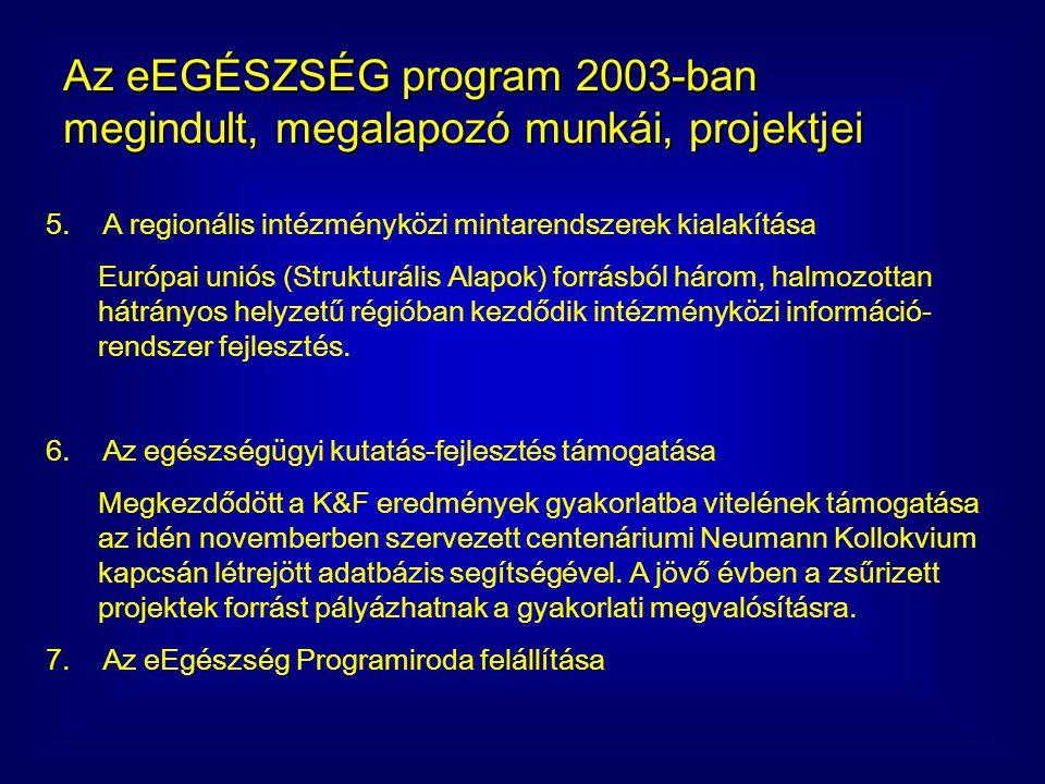 eEgészség Program: 2003 decemberben indított, 2004 első fél évi projektjei (1) Magyar Információs Társadalom Stratégia Egészségügyi és Szociális ágazati koncepciójának karbantartása eEgészség program és az eEuropa - eHealth program pro - aktív egyeztetése, szakmai koordinációjának támogatása, projekt előkészítése Az eEgészség program szabványok közös adatmodelljének elkészítése Az eEgészség program eKórlap elektronikus dokumentum szabványának elkészítése Az eEgészség program eKonzílium elektronikus dokumentum szabványának elkészítése Az eEgészség program eLelet elektronikus dokumentum szabványának elkészítése Az eEgészség program eRecept elektronikus dokumentum szabványának elkészítése Az eEgészség program eFin elektronikus dokumentum szabványának elkészítése Az eEgészség Szabványok tartalmára vonatkozó Fogalomtárak közös adatmodelljének elkészítése Összetett, rendezett fogalomtár (ontológia) adatszerkezet készítése, feltöltése mintatartalommal - eAdat Összetett, rendezett fogalomtár (ontológia) adatszerkezet készítése, feltöltése mintatartalommal - ePaciens Összetett, rendezett fogalomtár (ontológia) adatszerkezet készítése, feltöltése mintatartalommal - eBeavatkozások Összetett, rendezett fogalomtár (ontológia) adatszerkezet készítése, feltöltése mintatartalommal - eEszközök