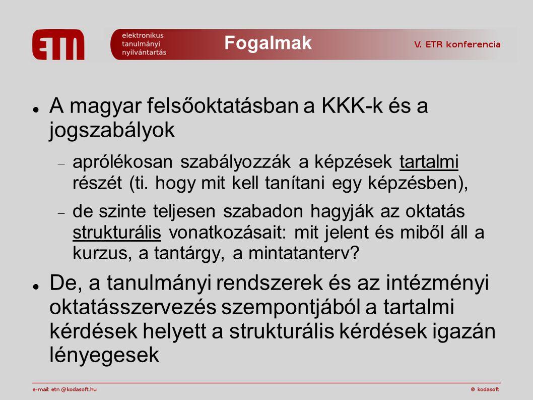 Fogalmak A magyar felsőoktatásban a KKK-k és a jogszabályok  aprólékosan szabályozzák a képzések tartalmi részét (ti.