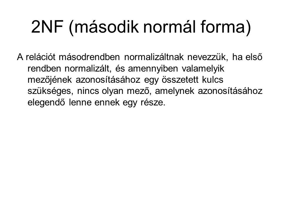 2NF (második normál forma) A relációt másodrendben normalizáltnak nevezzük, ha első rendben normalizált, és amennyiben valamelyik mezőjének azonosításához egy összetett kulcs szükséges, nincs olyan mező, amelynek azonosításához elegendő lenne ennek egy része.