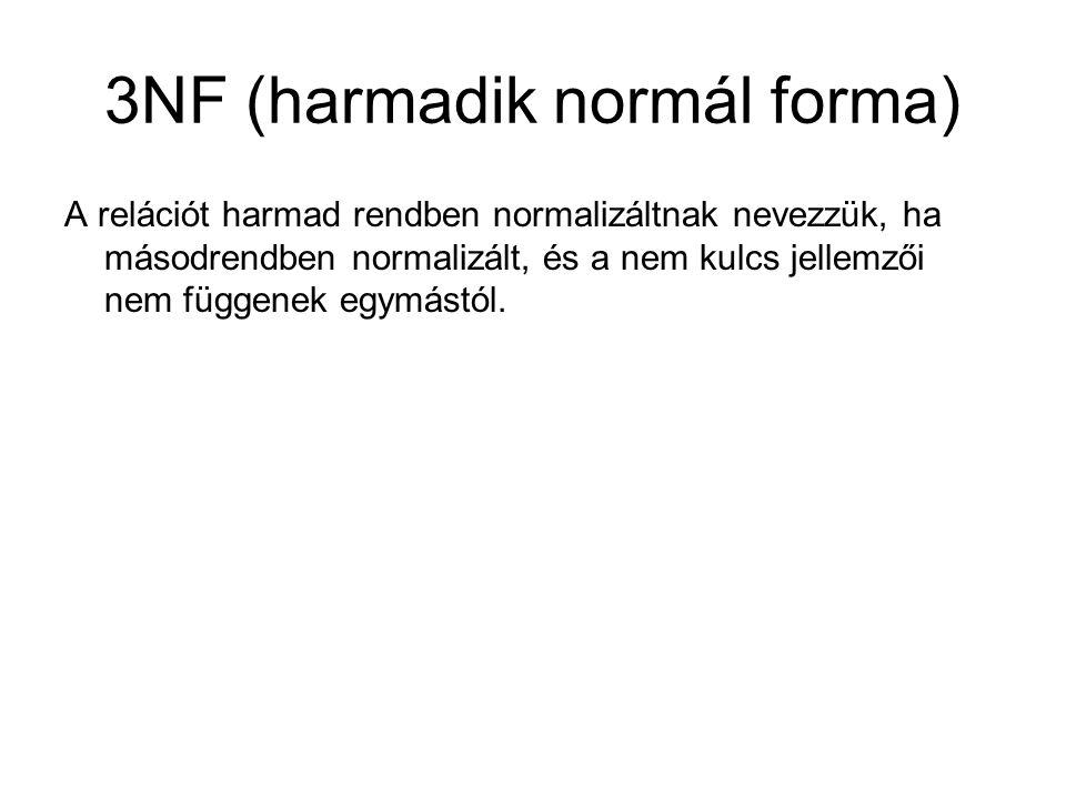 3NF (harmadik normál forma) A relációt harmad rendben normalizáltnak nevezzük, ha másodrendben normalizált, és a nem kulcs jellemzői nem függenek egymástól.