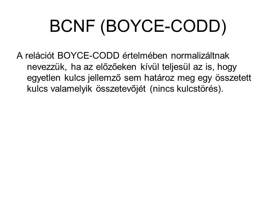 BCNF (BOYCE-CODD) A relációt BOYCE-CODD értelmében normalizáltnak nevezzük, ha az előzőeken kívül teljesül az is, hogy egyetlen kulcs jellemző sem határoz meg egy összetett kulcs valamelyik összetevőjét (nincs kulcstörés).