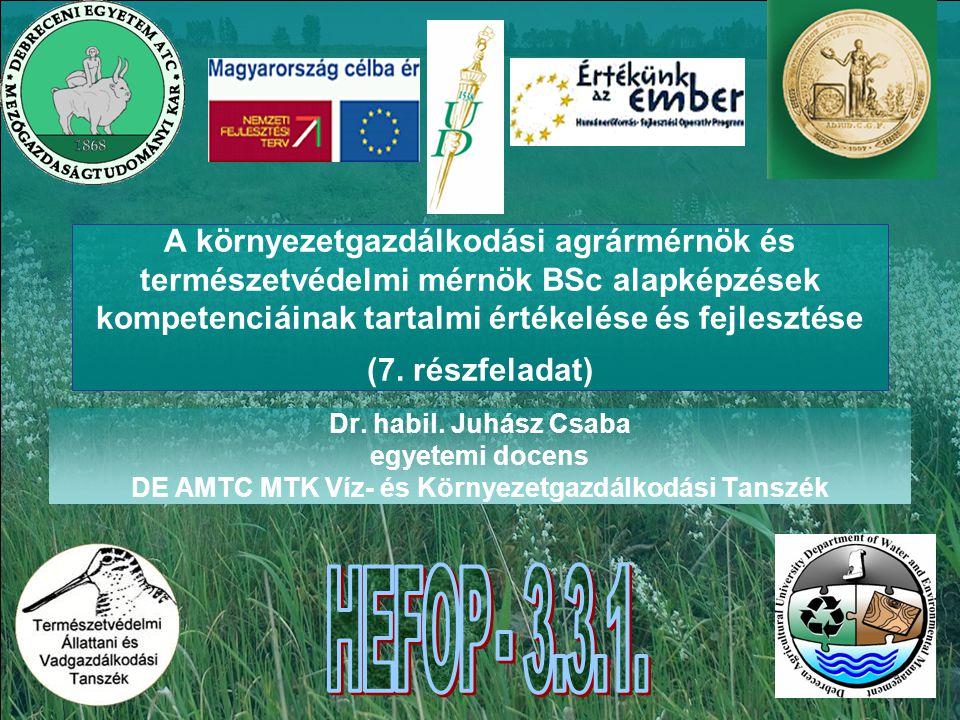 A környezetgazdálkodási agrármérnök és természetvédelmi mérnök BSc alapképzések kompetenciáinak tartalmi értékelése és fejlesztése (7.