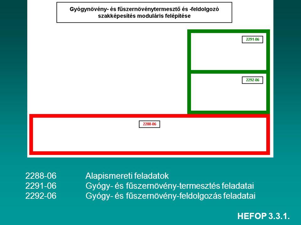HEFOP 3.3.1. 2288-06Alapismereti feladatok 2291-06Gyógy- és fűszernövény-termesztés feladatai 2292-06Gyógy- és fűszernövény-feldolgozás feladatai