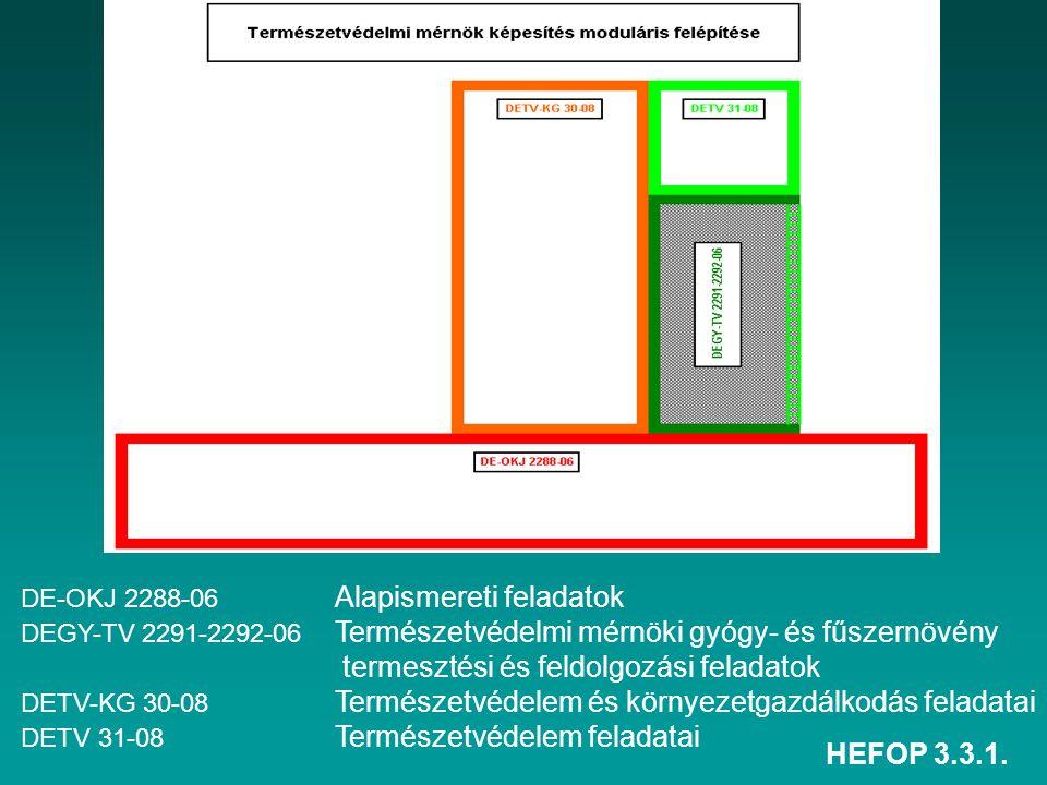 HEFOP 3.3.1. DE-OKJ 2288-06 Alapismereti feladatok DEGY-TV 2291-2292-06 Természetvédelmi mérnöki gyógy- és fűszernövény termesztési és feldolgozási fe