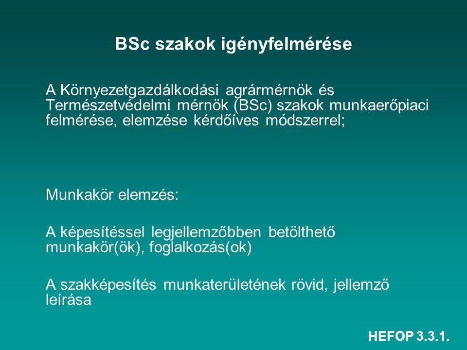 HEFOP 3.3.1. BSc szakok igényfelmérése A Környezetgazdálkodási agrármérnök és Természetvédelmi mérnök (BSc) szakok munkaerőpiaci felmérése, elemzése k
