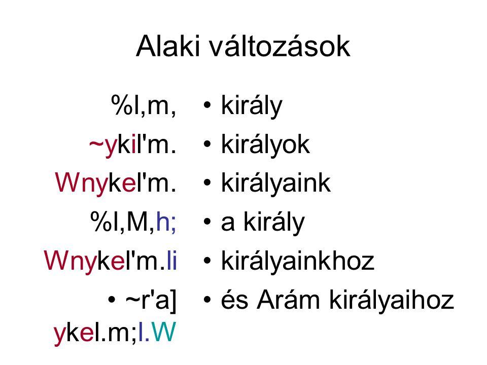 Alaki változások %l,m, ~ykil'm. Wnykel'm. %l,M,h; Wnykel'm.li ~r'a] ykel.m;l.W király királyok királyaink a király királyainkhoz és Arám királyaihoz