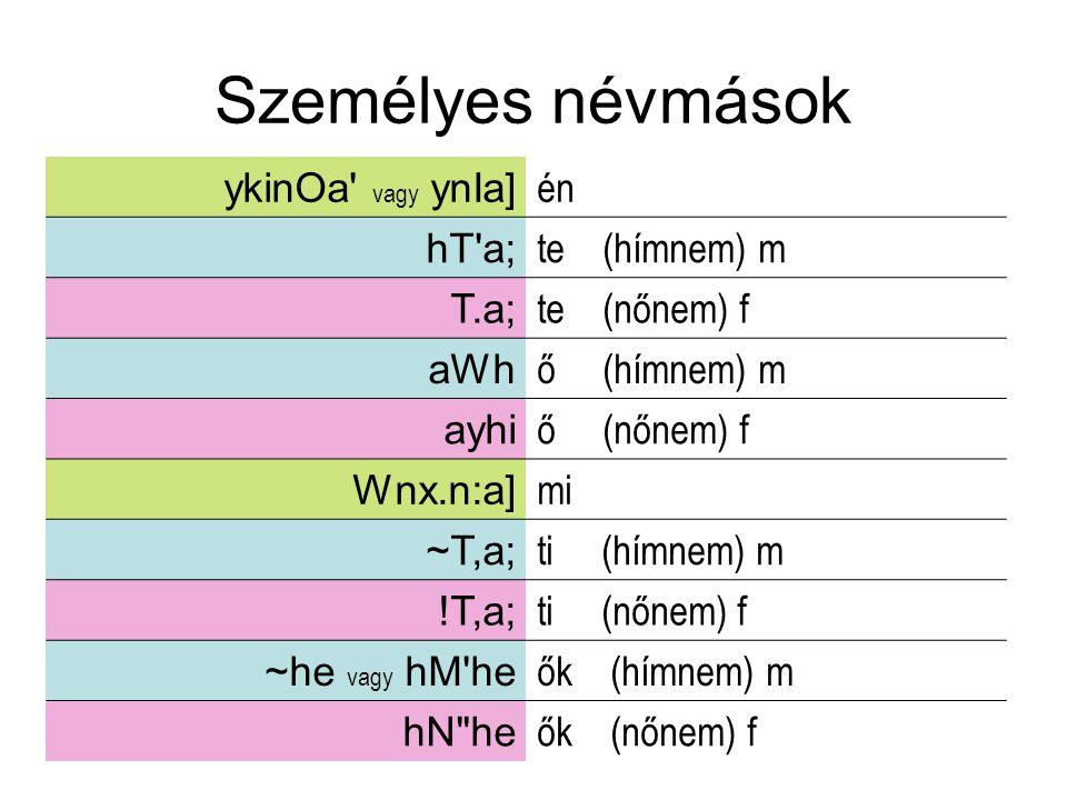 Személyes névmások ykinOa' vagy ynIa] én hT'a; te (hímnem) m T.a; te (nőnem) f aWh ő (hímnem) m ayhi ő (nőnem) f Wnx.n:a] mi ~T,a; ti (hímnem) m !T,a;