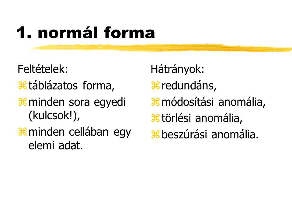 1. normál forma Feltételek: ztáblázatos forma, zminden sora egyedi (kulcsok!), zminden cellában egy elemi adat. Hátrányok: z redundáns, z módosítási a