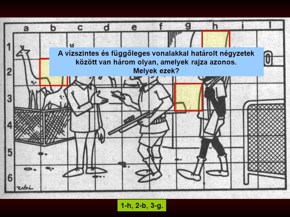 1-h, 2-b, 3-g. A vízszintes és függőleges vonalakkal határolt négyzetek között van három olyan, amelyek rajza azonos. Melyek ezek?