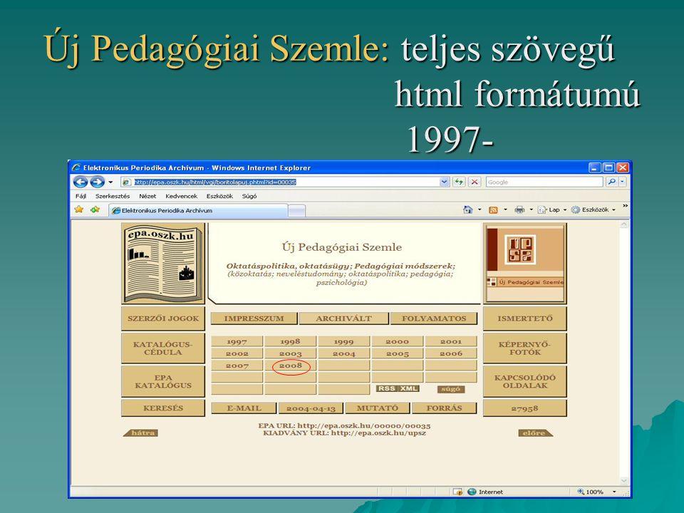 Új Pedagógiai Szemle: teljes szövegű html formátumú 1997-