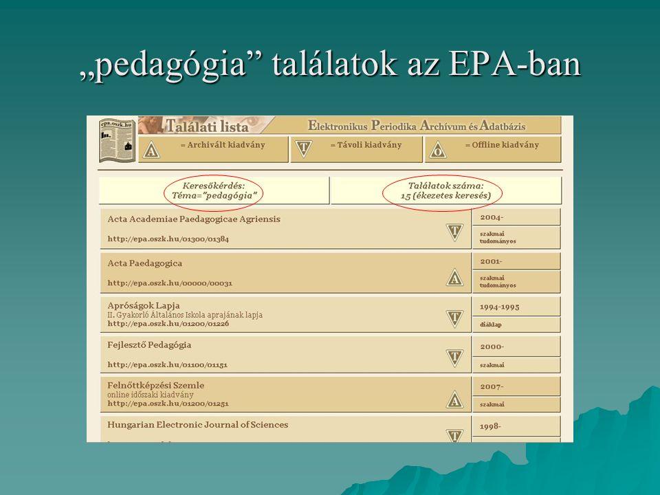 """""""pedagógia"""" találatok az EPA-ban"""