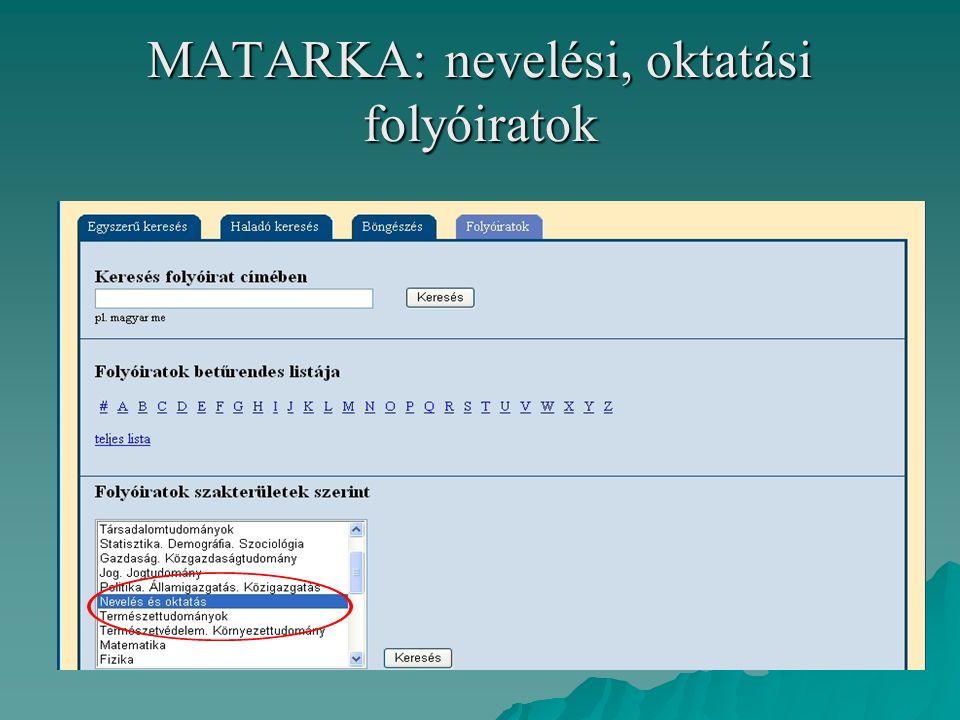 MATARKA: 42 oktatási, nevelési folyóirat tartalomjegyzéke