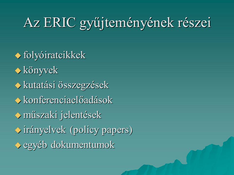 Az ERIC gyűjteményének részei  folyóiratcikkek  könyvek  kutatási összegzések  konferenciaelőadások  műszaki jelentések  irányelvek (policy pape