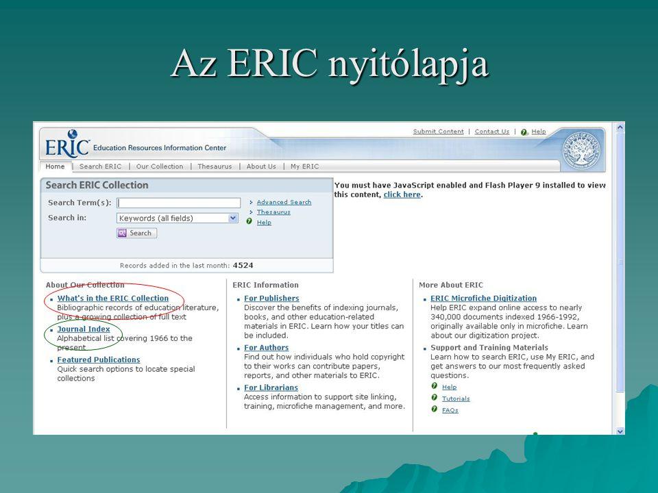 Az ERIC nyitólapja